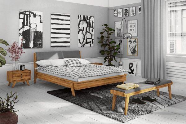 Designerbett VINTAGE 180x200 cm, Wildeiche mit Polsterung