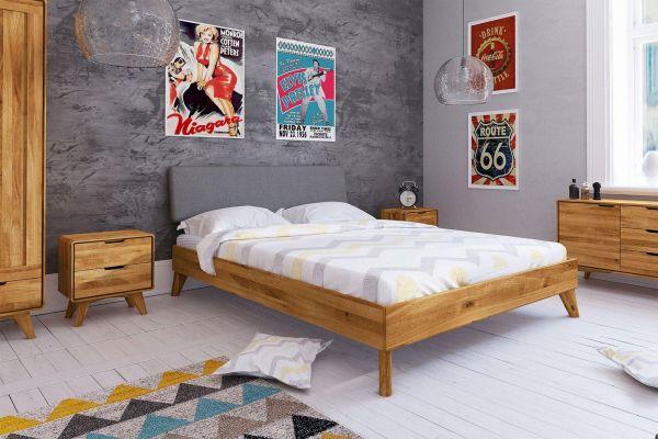 Eiche Designerbett GREGOR 2425 - 180x200cm, mit Polsterung, Wildeiche massiv