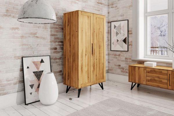 Eiche-Kleiderschrank Polo 2605 - aus der Möbelserie POLO, Wildeiche massiv