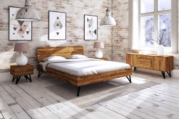 Eiche-Designerbett POLO 2602 180x200 cm - aus der Möbel-Kollektion POLO, Wildeiche, massiv, erschwin