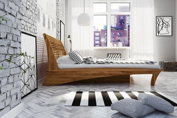 Designer-Holzbett GRAZIANA 180x200cm, Wildeiche naturgeölt. Eichenbett