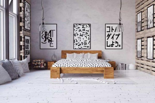 Eiche-Designerbett FLYER Hoch, 140x220cm, Wildeiche naturgeölt, Überlänge