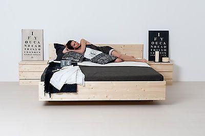 Zirben-Naturbett ALPENKÖNIGIN 180x200 cm. Bett mit Naturlatex-Matratzen und metallfreiem Lattenrost