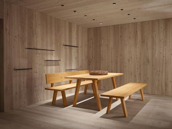 Eiche-Designer Tischgruppe DOLOMIT mit 2 Bänken 200x90x76 cm