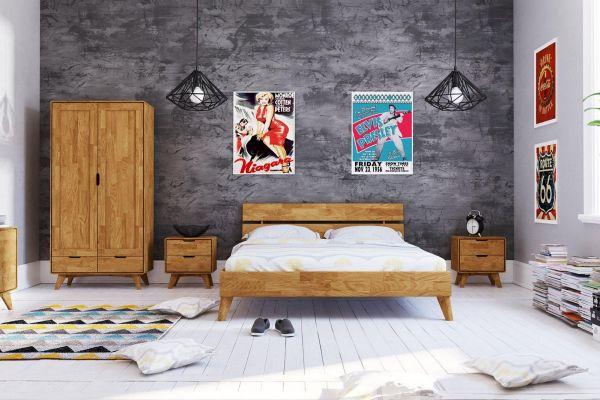 Eiche-Designerbett GREGOR 2402, 180x200 cm, geteiltes Betthaupt, Wildeiche massiv