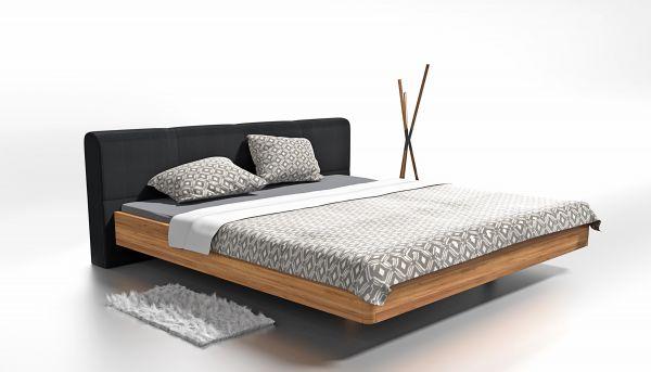 Eiche-Designerbett BARCELONA 140x200 cm. Asteiche massiv. 4 cm. Naturgeölt
