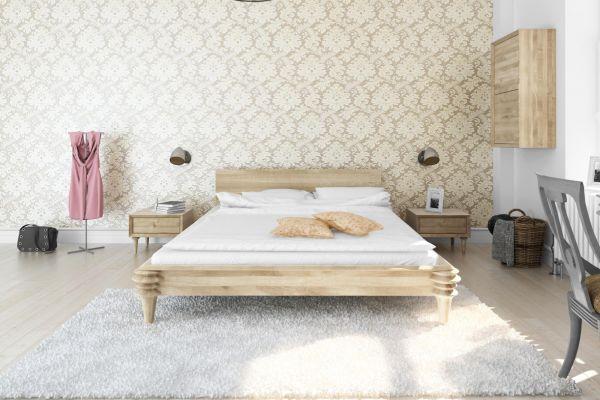 Designerbett DIVA, 180x200cm Wildeiche weissgeölt inkl. 2 Nk
