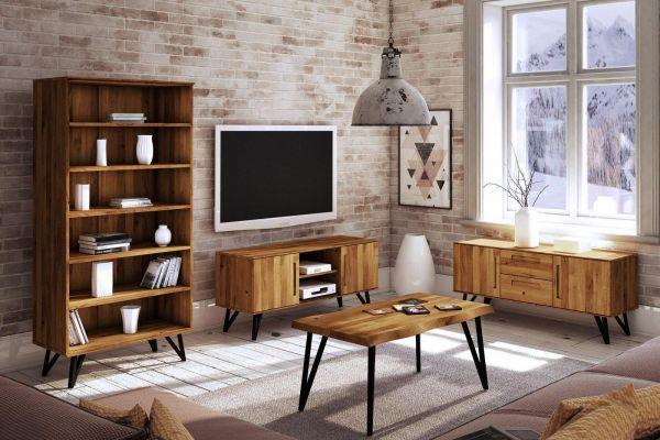 Eiche-Couchtisch 2609 Polo - 60x80 cm - aus der Möbel-Kollektion POLO, Wildeiche,4 cm massiv
