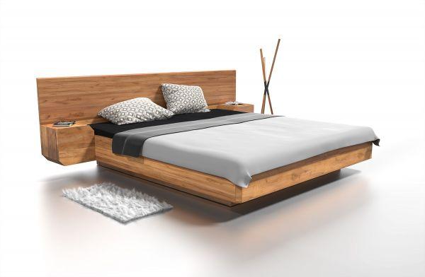 Eiche-Designerbett MONTE CARLO 160x200 cm mit integrierten Nachtkästen
