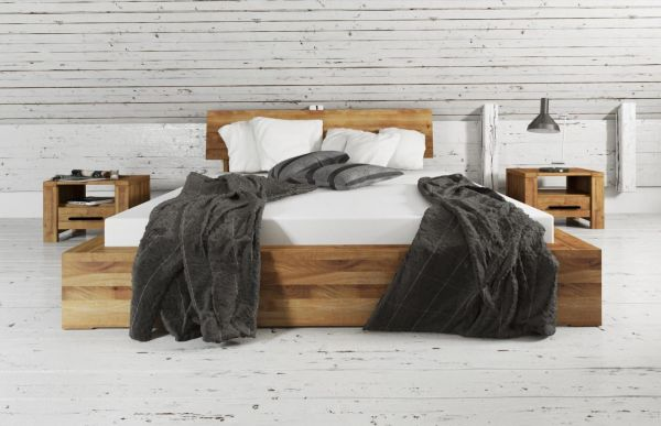 Designer-Holzbett TRENDY in Wildeiche massiv