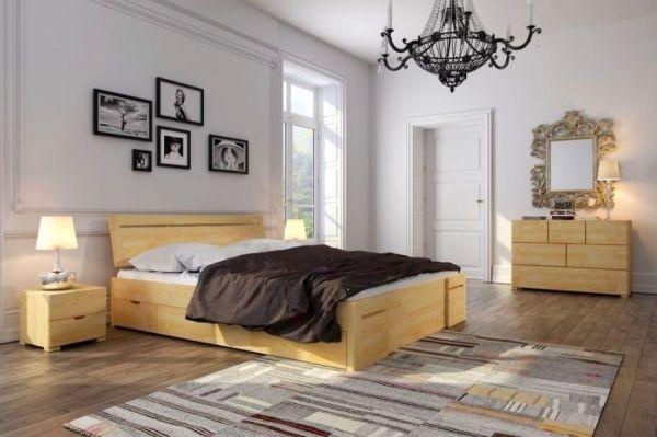 Kieferbett SANDORMA Hoch 180x200 cm mit Schubladen