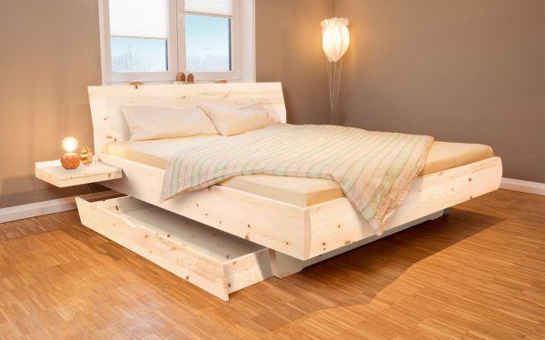 Zirben-Stauraumbett HEIMATLIEBE 180x200 cm mit 2 Bettladen ohne Anstecktisch