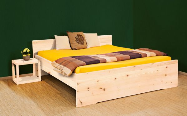 Zirben-Designerbett SONNENGRUSS 140x200 cm, metallfrei - auch als STAURAUM-BETT erhältlich