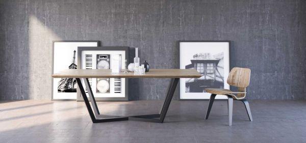Moderner Esstisch TAVOLO, 180x100 cm, Eiche massiv, pulverbeschichteter Stahl, matt