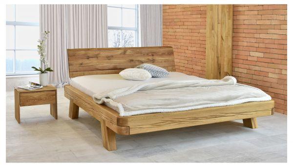 Designer-Holzbett VALENCIA 180x200 cm, naturgeölt + 2 Designer-Nachtkästen + Lattenrost
