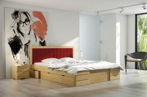 Kiefernbett GUNNAR Hoch 140x200 cm mit Schubladen