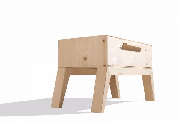 Zirben-Designer-Nachtkasten STYLE. Aussergewöhnlich