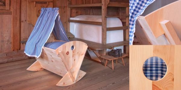 Babywiege BAMBINO aus unhehandeltem Zirbenholz. Nur das Beste für Ihr Herzenskind