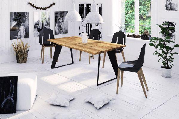 Designer-Esstisch BAUMKANTE STYLE 06 100x220 cm, 4 cm massive Tischplatte, Eiche 2x geölt