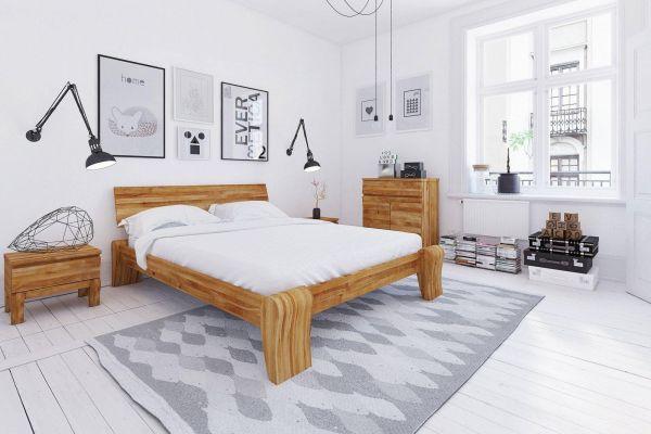 Designerbett FLOW Hoch 180x220 cm, Wildeiche geölt, Überlänge