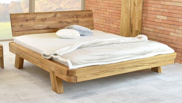 Designer-Holzbett VALENCIA, 200x200 cm, + 2x Designer-Nachtkasten + Lattenrost. Naturgeölt