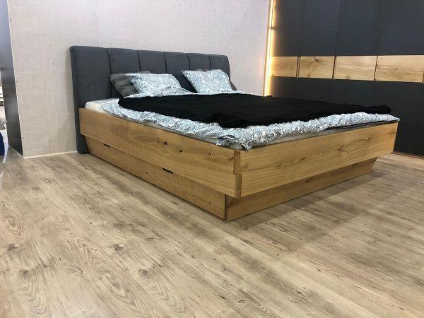 Eichen-Designerbett HAMBURG 180x200cm mit Bettkasten. Klassische Eleganz aus masiver Eiche. Naturge