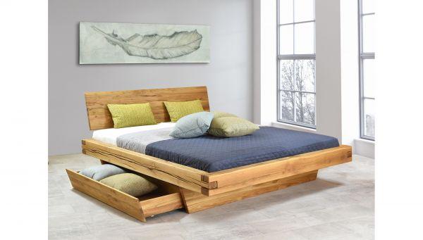 Designer-Holzbett GRANADA 180x200 cm, mit Schublade, naturgeölt