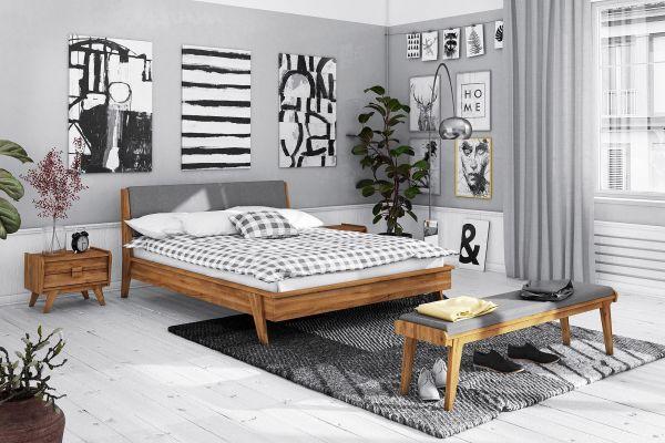 Designerbett Vintage Wildeiche Massiv 140x200 Cm Mit Polsterung