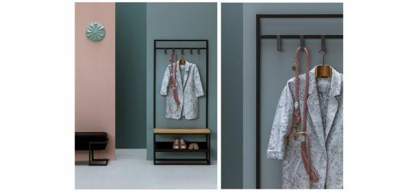 Moderne Garderobe Mr. COSY, Eiche massiv, mit Ablage. 80x35x180 cm