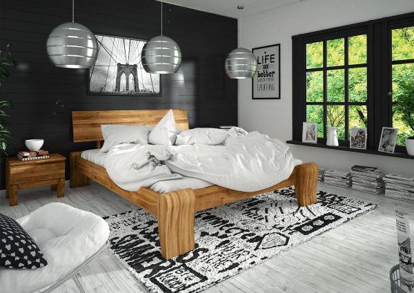 """Designerbett """"FLOW"""" in Wildeiche Hoch 140x200 cm"""