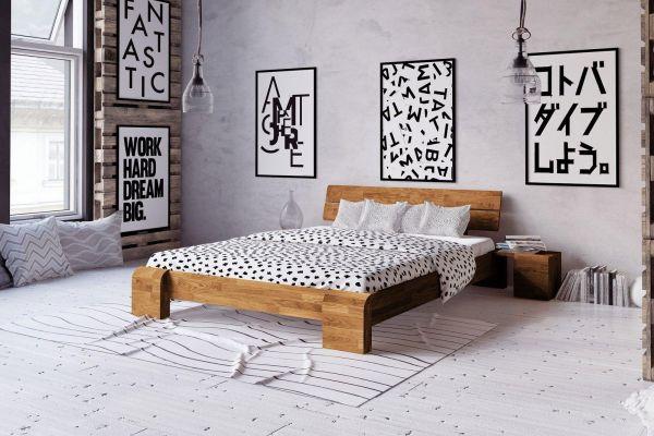 Wildeiche-Designerbett FLYER + 2x Nachtkasten. Naturgeölt