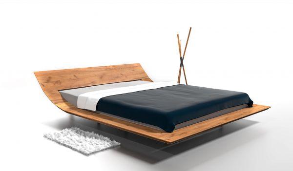 Eiche-Designerbett MARBELLA 200x200 cm. Alteiche massiv. 4 cm. Naturgeölt