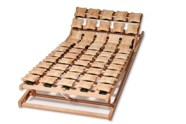 2x Zirbenteller-Lattenrost 100x200 cm. Mit Rücken- und Fußhochstellung